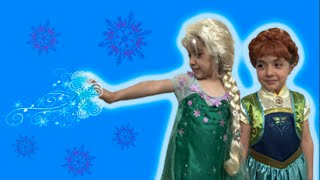 getlinkyoutube.com-Anna And Elsa In Real Life Frozen Fever Lego Toys Movie! Anna's Birthday Party! Frozen 2 Short!