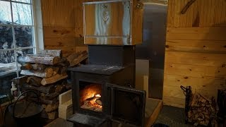 getlinkyoutube.com-Off grid wood stove baking with Amish oven