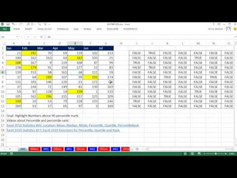 Excel Magic Trick 989: Conditional Formatting For Values above 90% Percentile Mark