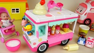 getlinkyoutube.com-Baby Doll and ice cream car toys making ice cream play doh