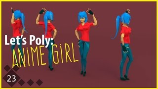 getlinkyoutube.com-Let's Poly: Low Poly Female - Anime Girl - Main Character! Time Lapse