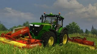 getlinkyoutube.com-Farming simulator 2013 JD 7215 R Pottinger Alpha Motion Novacat X8 Collector
