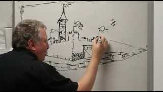 getlinkyoutube.com-Drawing A Castle In Two Point Perspective Nov 24th 2014