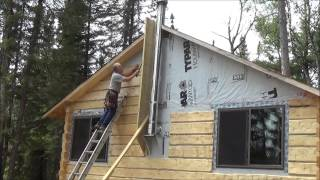 getlinkyoutube.com-THE BACKWOODS CABIN Episode 16. Ceiling Beams and Siding. Two days Of Work In Just Over 8 Minutes.
