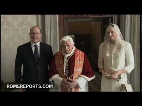 Prince Albert of Monaco and princess Charlenne visit Benedict XVI