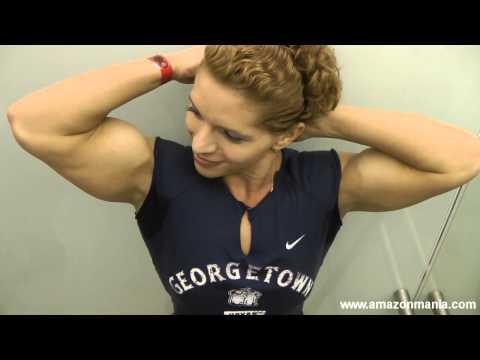Biceps Ella: Beautiful Biceps Girl Flexing In Elevator