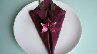 getlinkyoutube.com-Servietten falten: spitze Bestecktasche napkin folding pocket