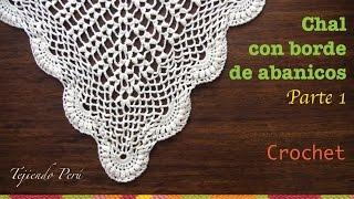 getlinkyoutube.com-Chal triangular o punta calada con borde de abanicos tejida a crochet (Parte 1)