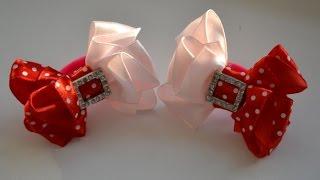 getlinkyoutube.com-Мастер класс красивых бантиков. Канзаши. Цветы из лент. Ribbon bow
