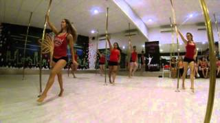 getlinkyoutube.com-Roar Pole Fitness - beginner 1 routine - pole dancing next level!