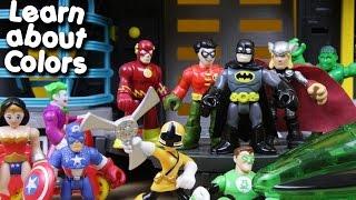 getlinkyoutube.com-Learn about colors with batman robin captain america spiderman hulk power rangers imaginext toys