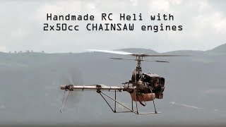 getlinkyoutube.com-Handmade rc helicopter 2Χ50cc CHAINSAW engines