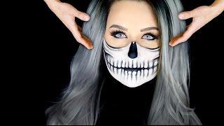 getlinkyoutube.com-Half Skull Makeup Tutorial | FLOATING HEAD!!