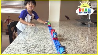 getlinkyoutube.com-Thomas and Friends kid playing with trains around the house Accidents will happen Ryan ToysReview