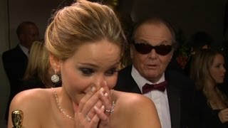 getlinkyoutube.com-Jennifer Lawrence Interrupted by Jack Nicholson at Oscars | Good Morning America | ABC News