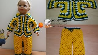 getlinkyoutube.com-how to crochet for beginners baby costume jacket and pants free pattern tutorial by marifu6a