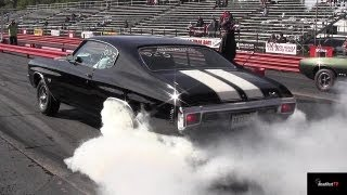 getlinkyoutube.com-Ram Air IV GTO vs Chevelle SS 454 LS6 - 1/4 mile Drag Race Video and Massive Burnout - Road Test TV
