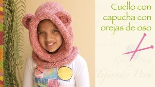 getlinkyoutube.com-Capucha con orejas de oso tejido en 2 agujas / Knitted bear hooded cowl