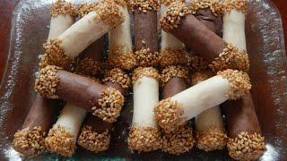 getlinkyoutube.com-حلويات سهلة : حلوة صبيعات اللوز بالزنجلان مع طبخ ليلى  halawiyat