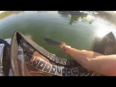 Bass Fishing on Belly Boat 2013. Fish cat 4.