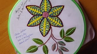 getlinkyoutube.com-Hand Embroidery Designs # 157 - Satin & Herring bone Design