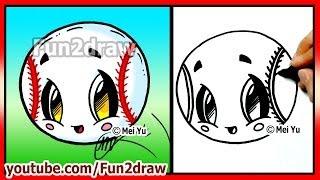 Easy Things to Draw - Cute Baseball Softball - Fun2draw Art Lessons