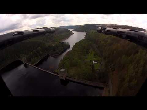 Footage from Lancaster bomber of the RAF Battle of Britain Memorial Flight at Derwent Reservoir.