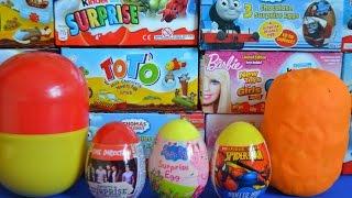 getlinkyoutube.com-Huge Play-Doh surprise Eggs Peppa Pig Spiderman One Direction Kinda surprise Dora the explorer