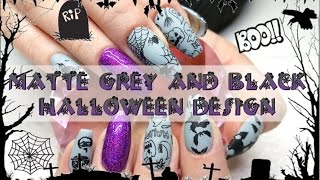 getlinkyoutube.com-Matte Grey With Black Stamping Halloween Nail Design