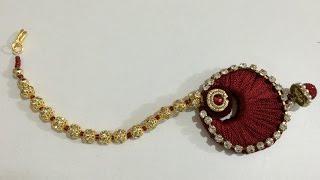 getlinkyoutube.com-How To Make Silk Thread Rajasthani Mang TikKa(Very Easy DIY Beautiful Mang Teeka)