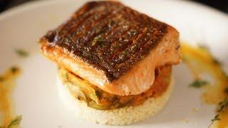 getlinkyoutube.com-Crispy Salmon w/ Ratatouille and Couscous - Bruno Albouze - THE REAL DEAL