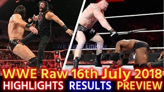 WWE Monday Night Raw 16th July 2018 Hindi Highlights Preview   Bobby Lashley Vs Roman Reigns Results