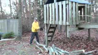 getlinkyoutube.com-Psycho Dad Drops Chainsaw on Himself