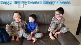 getlinkyoutube.com-Super Cute Triplet Song Il Gook Daehan Mingguk Manse Happy Birth day - The Return of Superman