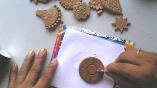 getlinkyoutube.com-Terracotta /clay jewellery making tutorial: how to make a simple flower pendant