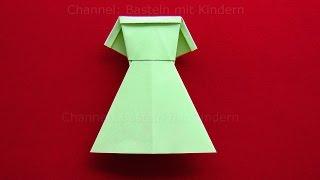 getlinkyoutube.com-Origami Kleid falten - DIY Kleider basteln mit Kindern - Origami Kleidung aus Papier