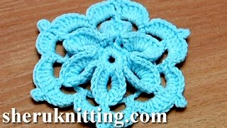 getlinkyoutube.com-Crochet Flower With 3D Center How to Tutorial 29 Come fiori all'uncinetto 3D