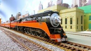 getlinkyoutube.com-HO MTH Southern Pacific SP 4449 GS4 & Daylight train.