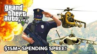 getlinkyoutube.com-GTA 5 - $15,000,000 Spending Spree! Hydra Jet, Attack Helicopter, Military APC Gun Turret & More!