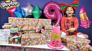getlinkyoutube.com-Tiana's 9th Birthday Party! Family Fun Games - Surprise Toys Opening Presents - Shopkins Cake