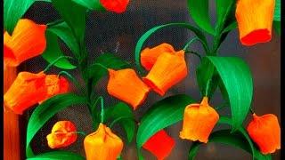 getlinkyoutube.com-Easy Paper Flowers Christmas Bells / Sandersonia ( flower # 94)