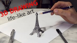getlinkyoutube.com-Paris Eiffel Tower 3D Drawing / Optical Illusion / Paris Solidarité