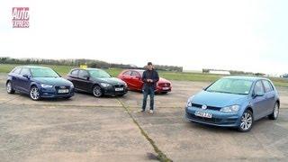getlinkyoutube.com-Volkswagen Golf vs Mercedes A-Class vs Audi A3 vs BMW 1 Series - Auto Express