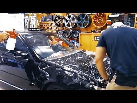Антигравийная плёнка PPF Paint Protection Film обклеиваем Subaru Legacy SpecB бронируем капот и фары