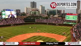 US Navy Parachute Team at Wrigley Field and National Anthem Chicago Cubs vs. Cincinnati Reds