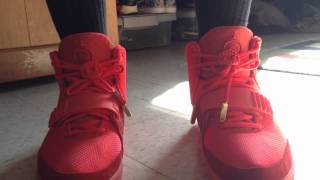 "getlinkyoutube.com-Nike Air Yeezy 2 ""Red October"" On Feet"