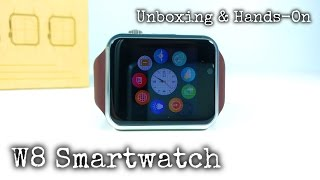 getlinkyoutube.com-W8 Smartwatch GSM UNBOXING & Hands-On - Apple Watch Clone?