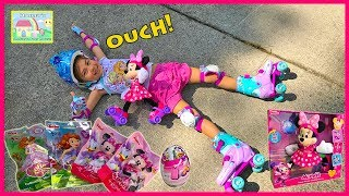 SUPER ROLLER SKATING MINNIE Kinder Egg Surprises Sofia the First Disney Junior Video Surprise Toys R