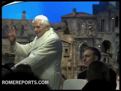 Pope's last 'escapade' of 2012  prayer before the Nativity display at St  Peter's Square