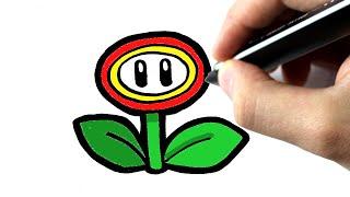 getlinkyoutube.com-How to draw a FIRE FLOWER from MARIO -Comment dessiner une fleur de MARIO - TUTORIEL